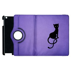 Purple Gracious Evil Black Cat Apple Ipad 2 Flip 360 Case