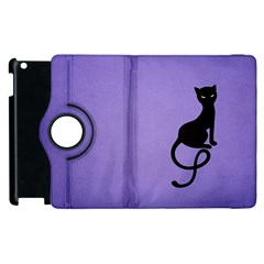 Purple Gracious Evil Black Cat Apple Ipad 3/4 Flip 360 Case