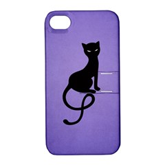 Purple Gracious Evil Black Cat Apple iPhone 4/4S Hardshell Case with Stand