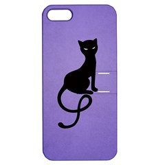 Purple Gracious Evil Black Cat Apple iPhone 5 Hardshell Case with Stand
