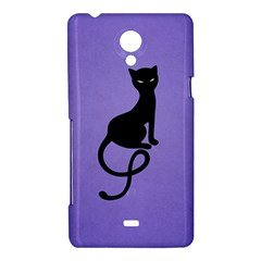 Purple Gracious Evil Black Cat Sony Xperia T Hardshell Case