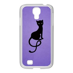 Purple Gracious Evil Black Cat Samsung GALAXY S4 I9500/ I9505 Case (White)
