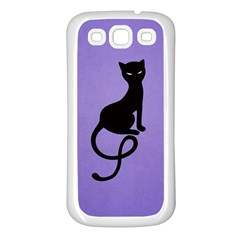 Purple Gracious Evil Black Cat Samsung Galaxy S3 Back Case (White)