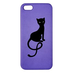 Purple Gracious Evil Black Cat iPhone 5S Premium Hardshell Case