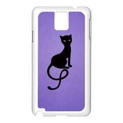 Purple Gracious Evil Black Cat Samsung Galaxy Note 3 N9005 Case (White)