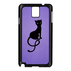 Purple Gracious Evil Black Cat Samsung Galaxy Note 3 N9005 Case (Black)