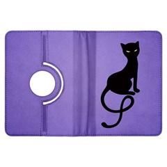 Purple Gracious Evil Black Cat Kindle Fire HDX 7  Flip 360 Case
