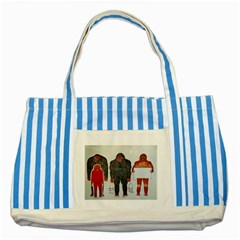 1 Neanderthal & 3 Big Foot,on White, Blue Striped Tote Bag