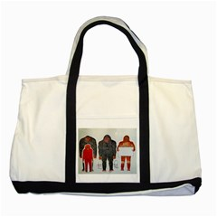 1 Neanderthal & 3 Big Foot,on White, Two Toned Tote Bag