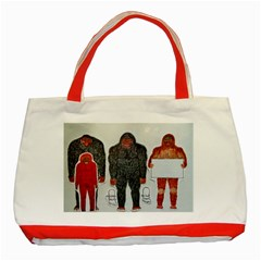 1 Neanderthal & 3 Big Foot,on White, Classic Tote Bag (Red)