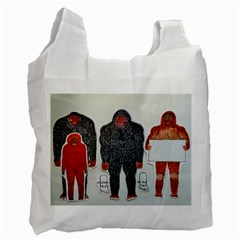1 Neanderthal & 3 Big Foot,on White, White Reusable Bag (Two Sides)