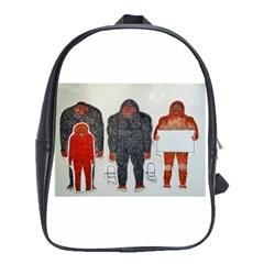 1 Neanderthal & 3 Big Foot,on White, School Bag (Large)
