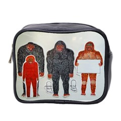 1 Neanderthal & 3 Big Foot,on White, Mini Travel Toiletry Bag (two Sides)