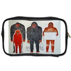 1 Neanderthal & 3 Big Foot,on White, Travel Toiletry Bag (two Sides)