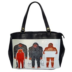 1 Neanderthal & 3 Big Foot,on White, Oversize Office Handbag (Two Sides)