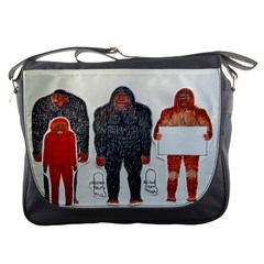 1 Neanderthal & 3 Big Foot,on White, Messenger Bag