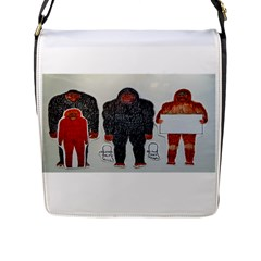 1 Neanderthal & 3 Big Foot,on White, Flap Closure Messenger Bag (Large)