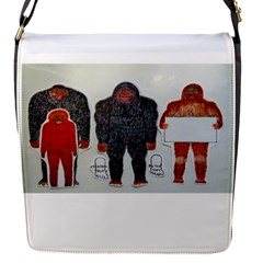 1 Neanderthal & 3 Big Foot,on White, Removable Flap Cover (Small)