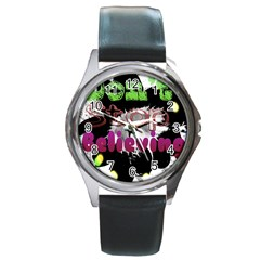 Don t Stop Believing Round Leather Watch (silver Rim)