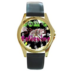Don t Stop Believing Round Leather Watch (gold Rim)
