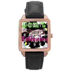 Don t Stop Believing Rose Gold Leather Watch