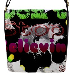 Don t Stop Believing Flap Closure Messenger Bag (Small)