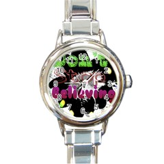 Don t Stop Believing Round Italian Charm Watch