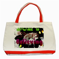 Don t Stop Believing Classic Tote Bag (red)