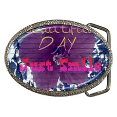 Beautiful Day Just Smile Belt Buckle (Oval)