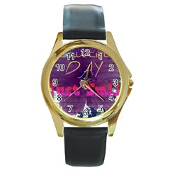Beautiful Day Just Smile Round Leather Watch (Gold Rim)
