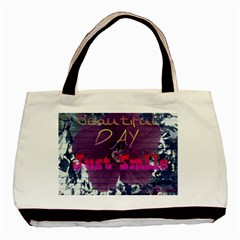 Beautiful Day Just Smile Twin Sided Black Tote Bag
