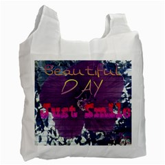 Beautiful Day Just Smile White Reusable Bag (One Side)
