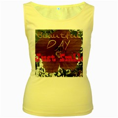 Beautiful Day Just Smile Women s Tank Top (Yellow)