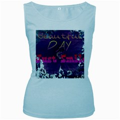 Beautiful Day Just Smile Women s Tank Top (Baby Blue)
