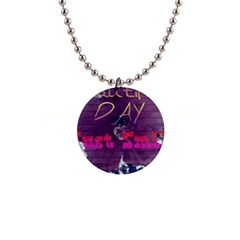 Beautiful Day Just Smile Button Necklace