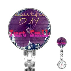 Beautiful Day Just Smile Stainless Steel Nurses Watch