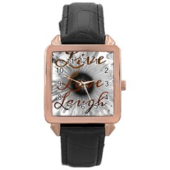 Live love laugh Rose Gold Leather Watch