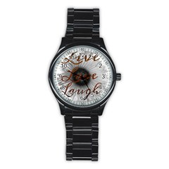 Live Love Laugh Sport Metal Watch (black)