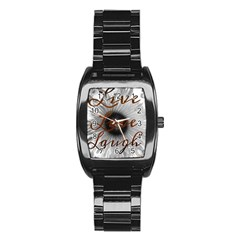 Live love laugh Stainless Steel Barrel Watch