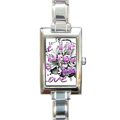 Live Peace Dream Hope Smile Love Rectangular Italian Charm Watch