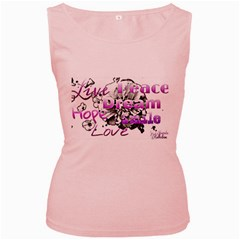 Live Peace Dream Hope Smile Love Women s Tank Top (Pink)