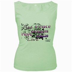 Live Peace Dream Hope Smile Love Women s Tank Top (Green)