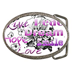 Live Peace Dream Hope Smile Love Belt Buckle (Oval)
