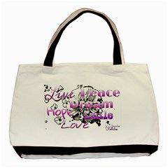 Live Peace Dream Hope Smile Love Twin Sided Black Tote Bag
