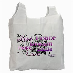 Live Peace Dream Hope Smile Love White Reusable Bag (one Side)