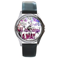 What s Meant To Be Will Always Find A Way Round Leather Watch (silver Rim)