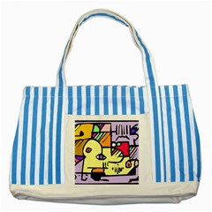 Fighting The Fog Blue Striped Tote Bag