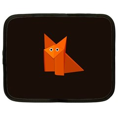 Dark Cute Origami Fox Netbook Sleeve (Large)