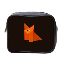 Dark Cute Origami Fox Mini Travel Toiletry Bag (Two Sides)