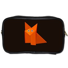Dark Cute Origami Fox Travel Toiletry Bag (Two Sides)